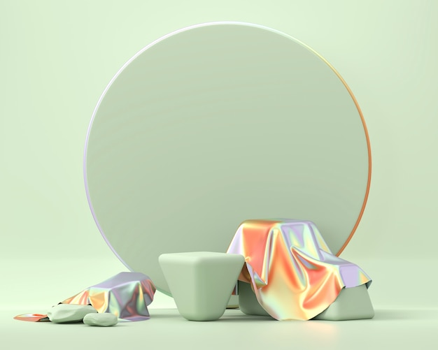 Holograficzna platforma podium na platformie prezentacja produktu 3d render