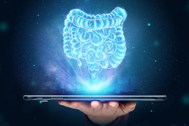 Holograficzna projekcja skanu jelita na smartfonie.