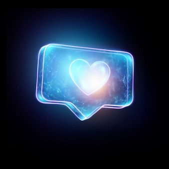 Hologram jak serce na czarnym tle