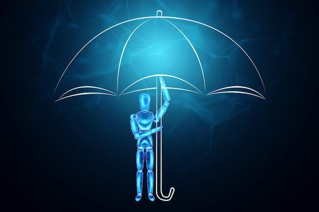 Hologram neonowej marionetki trzyma parasol. koncepcja ochrony, ilustracja 3d, renderowanie 3d