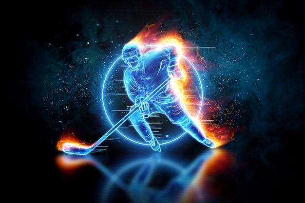 Hologram sylwetki hokeista w ogniu