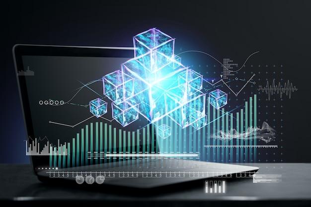 Hologram wirtualnych klocków, technologia blockchain z informacjami analitycznymi, laptop. koncepcja innowacji, ochrona danych, kryptografia, inteligentne szyfrowanie, przyszłość. podwójna ekspozycja.