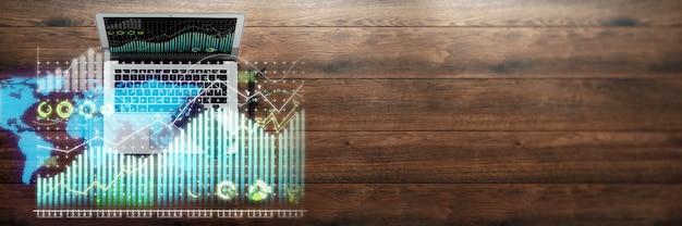 Hologram wykresu finansowego, wykres na laptopie w biurze
