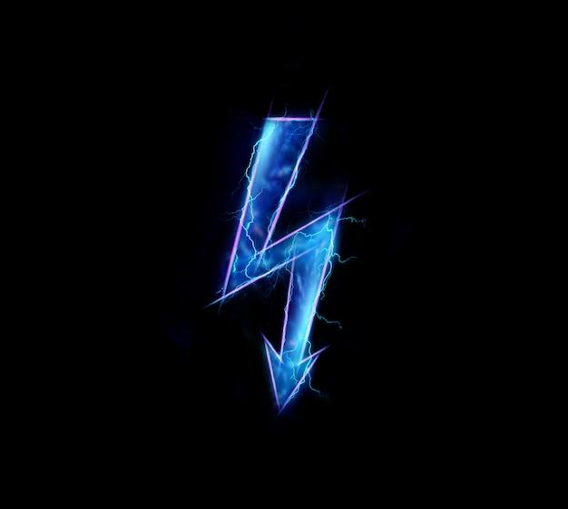 Hologram, znak energii elektrycznej, na białym tle na ciemnym tle
