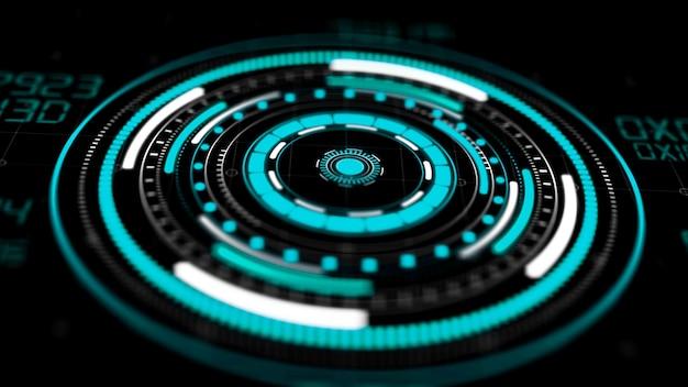 Hologramowe interfejsy hud koło, zaawansowany technologicznie futurystyczny wyświetlacz przycisku