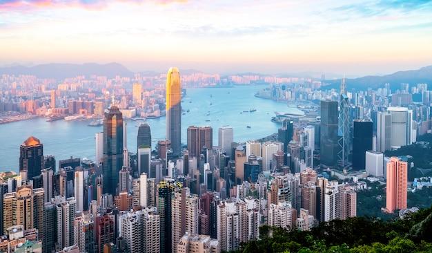 Hong kong city skyline i architektoniczny krajobraz