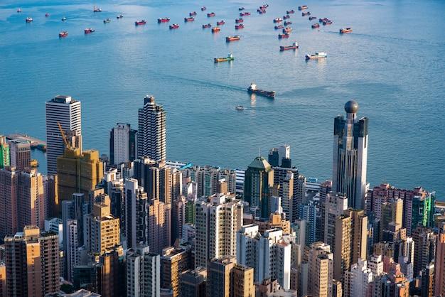 Hong kong pejzaż miejski, widok od gór