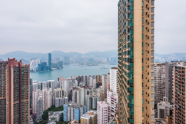 Hongkong architektura miasta, widok nocny, wieżowiec, chiny