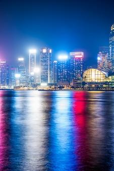 Hongkong nocny widok victoria harbour, rejs, chiny