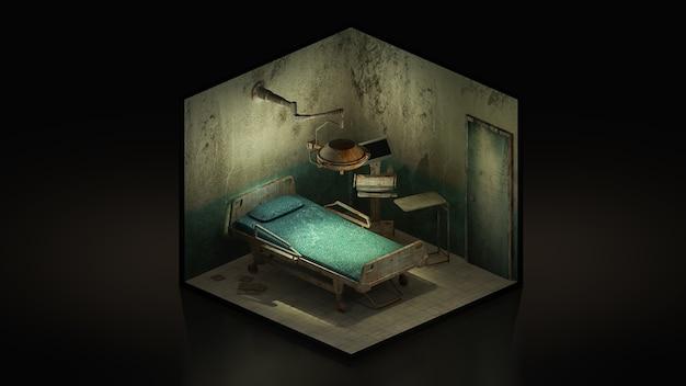 Horror i creepy opuszczona sala operacyjna w szpitalu., 3d illustration isomatric.