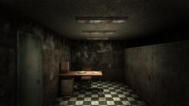 Horror i przerażająca kostnica w szpitalu. renderowanie 3d