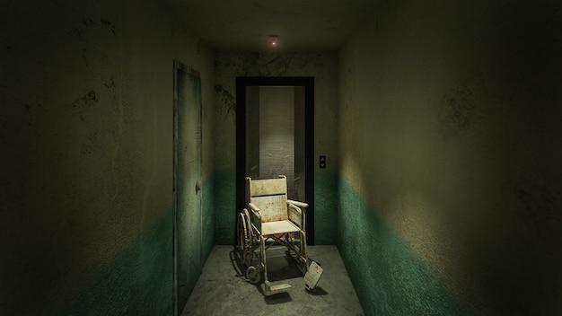 Horror i przerażająca winda z wózkiem inwalidzkim w szpitalu. renderowanie 3d