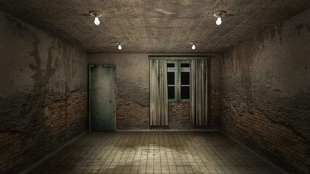 Horror i przerażające obrażenia pusty pokój