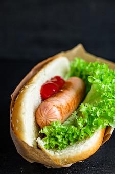 Hot Dog Sandwich Kiełbasa Sos Pomidorowy Sałata Liść Fast Food Porcja Premium Zdjęcia