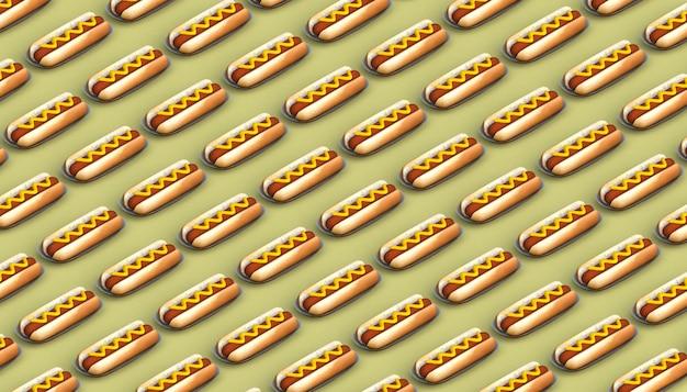 Hot dog tło. niezdrowe jedzenie. ilustracja 3d.
