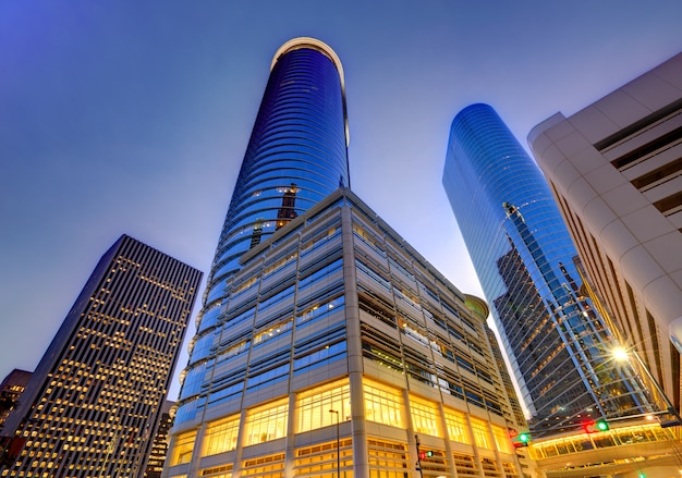 Houston śródmieścia linii horyzontu zmierzch przy teksas usa