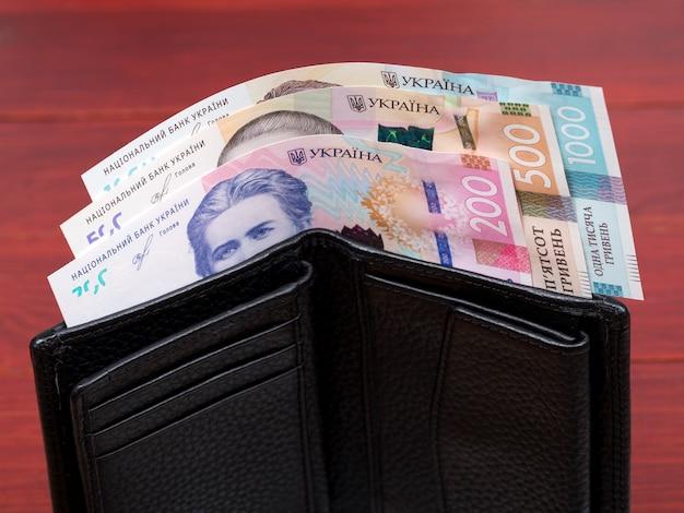 Hrywna ukraińska w czarnym portfelu