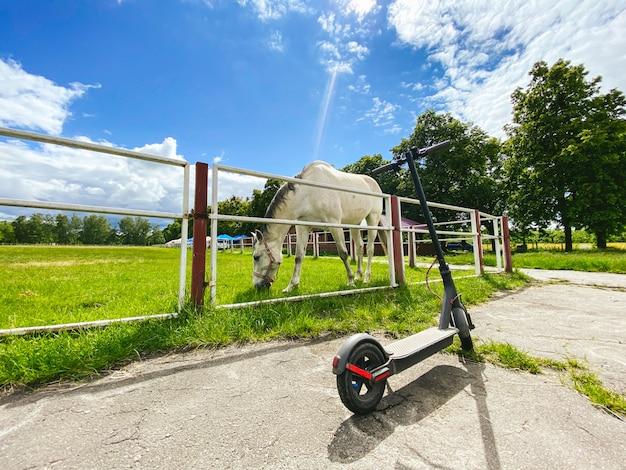 Hulajnoga elektryczna w pobliżu zielonej trawy pokryta arena jeździecka z białym koniem.