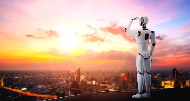 Humanoid ilustracji 3d robota czeka na panoramę miasta
