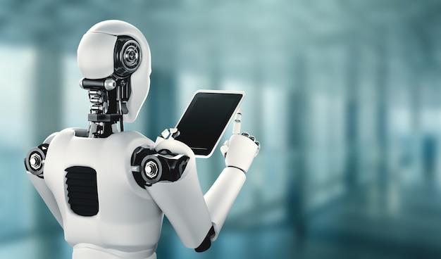 Humanoid robota korzystający z komputera typu tablet w przyszłym biurze