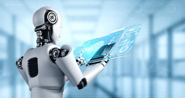 Humanoid robota używający komputera typu tablet do analizy dużych zbiorów danych