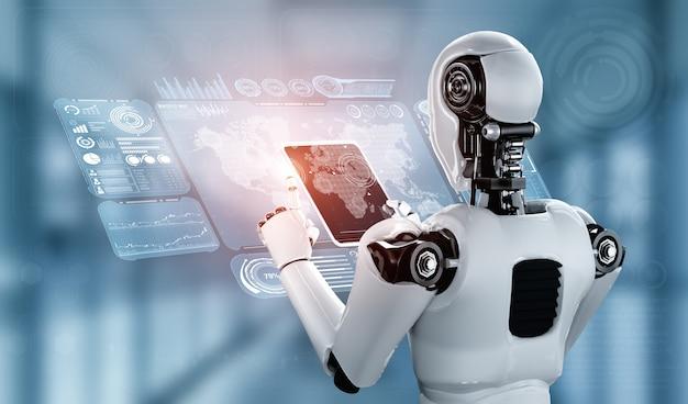 Humanoid robota używający komputera typu tablet do globalnego połączenia sieciowego