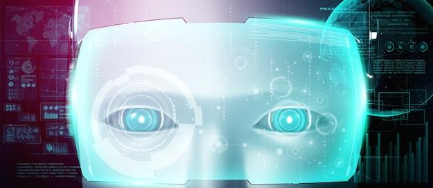 Humanoidalna twarz robota z bliska z graficzną koncepcją analizy dużych zbiorów danych przez mózg myślący ai