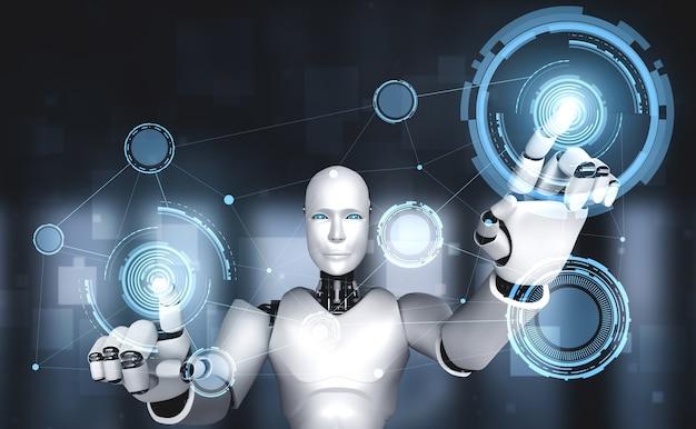 Humanoidalny robot ai dotyka ekranu wirtualnego hologramu