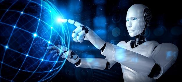 Humanoidalny robot ai dotykający ekranu hologramu pokazuje koncepcję globalnej komunikacji