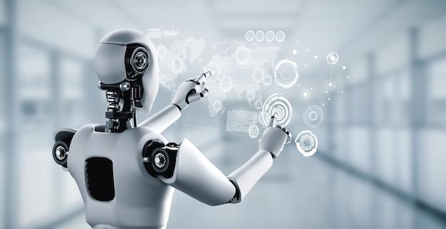 Humanoidalny robot ai dotykający ekranu hologramu przedstawia koncepcję globalnej komunikacji