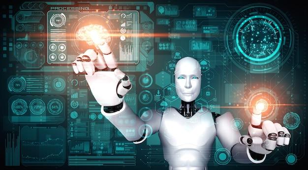 Humanoidalny robot ai dotykający ekranu wirtualnego hologramu pokazującego koncepcję dużych zbiorów danych