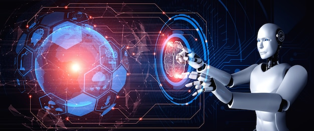 Humanoidalny robot ai dotykający ekranu wirtualnego hologramu pokazujący koncepcję analizy dużych zbiorów danych
