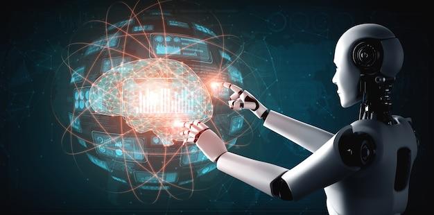Humanoidalny robot ai dotykający ekranu wirtualnego hologramu przedstawiającego koncepcję dużych zbiorów danych