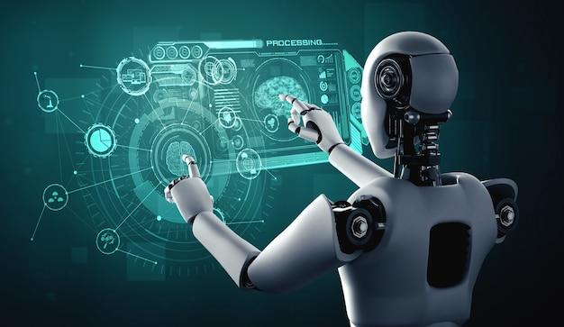 Humanoidalny robot ai dotykający ekranu wirtualnego hologramu przedstawiającego koncepcję mózgu ai