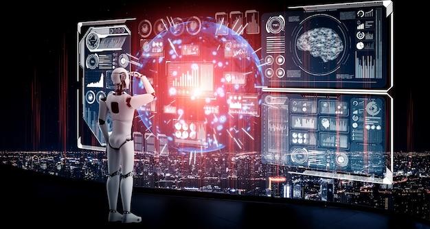 Humanoidalny robot ai patrzący na ekran hologramu przedstawiający koncepcję dużych zbiorów danych