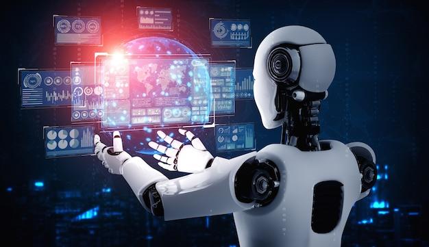 Humanoidalny robot ai trzymający ekran wirtualnego hologramu przedstawiający koncepcję analizy dużych zbiorów danych