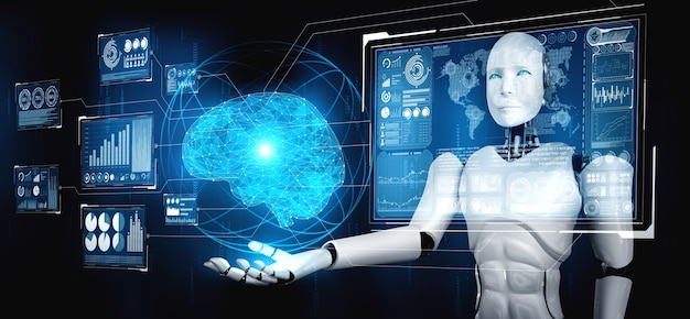 Humanoidalny robot ai trzymający ekran wirtualnego hologramu przedstawiający koncepcję mózgu ai