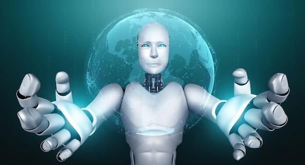Humanoidalny robot ai trzymający ekran z hologramem pokazuje koncepcję globalnej komunikacji