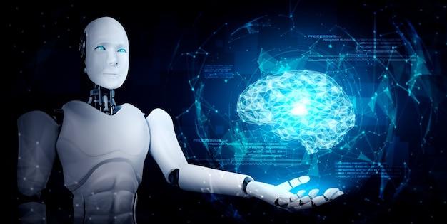 Humanoidalny robot ai trzymający ekran z wirtualnym hologramem