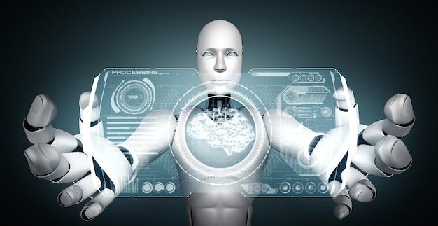 Humanoidalny robot ai trzymający wirtualny hologram pokazujący koncepcję mózgu ai