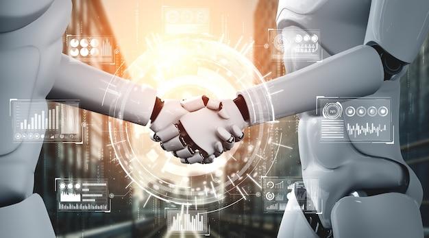 Humanoidalny uścisk dłoni robota renderującego 3d w celu współpracy z technologią przyszłości