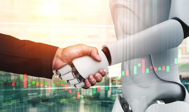 Humanoidalny uścisk dłoni robota z wykresem giełdowym pokazującym decyzję kupna i sprzedaży podjętą przez ai