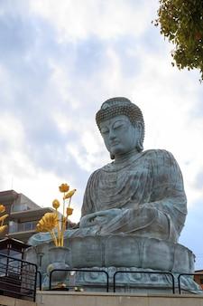 Hyogo daibutsu to gigantyczny posąg buddy w świątyni nofukuji w kobe w prefekturze hyogo w japonii z miejscem na kopię.