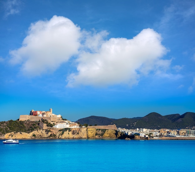Ibiza eivissa castle and skyline in balearics