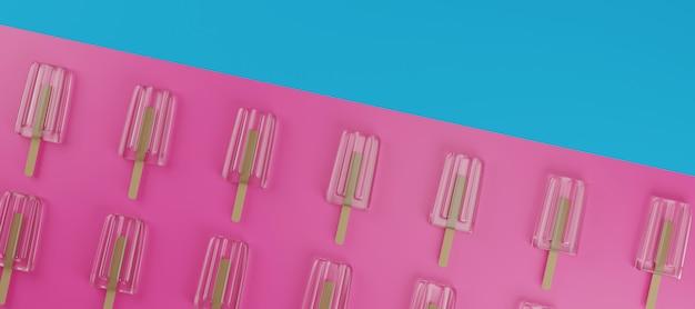 Ice cream bar minimalne letnie renderowanie 3d.