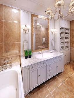 Idea luksusowego klasycznego projektu łazienki.