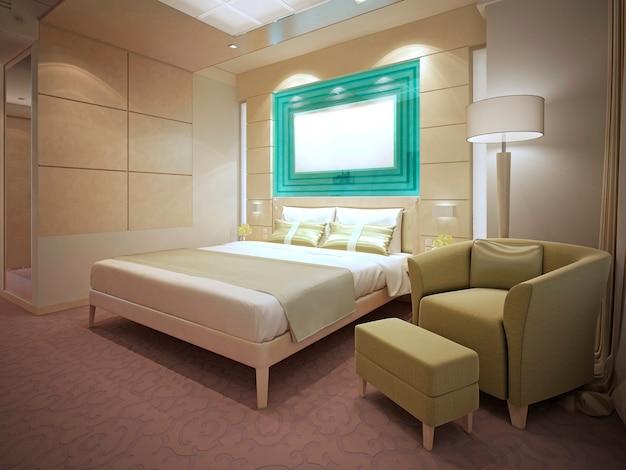 Idea nowoczesnego mieszkania. kremowe ściany, wykładzina dywanowa w brzoskwiniowy wzór. renderowania 3d