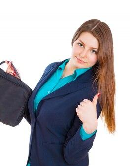 Idealna biznesowa kobieta pokazująca ok znak ręką uśmiechnięty szczęśliwy.