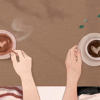 Idealna randka na kawę estetyczna ilustracja walentynkowych postów w mediach społecznościowych