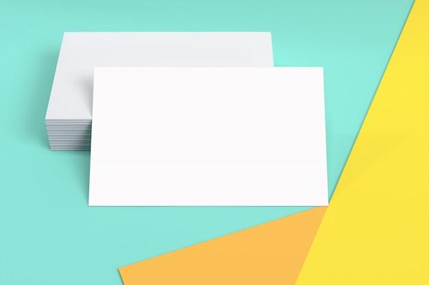 Identyfikacja wizualna pusta wizytówka lub szablon makieta karty kredytowej